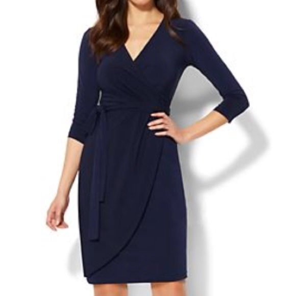 e807445988b4 New York & Company Dresses | Uec Nyco Stretch Navy Blue V Neck Wrap ...